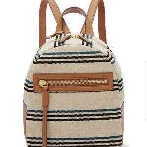 Fossil Megan Natural/Blue Stripe Canvas Backpack